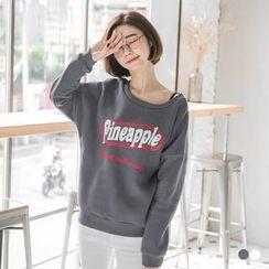OrangeBear - Pineapple Graphic Fleece Lined Sweatshirt