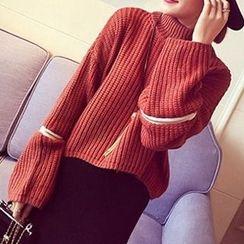 FR - Zip Detail Mélange Turtleneck Sweater