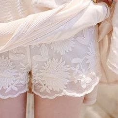 Marlangrouge - Band-Waist Lace Shorts