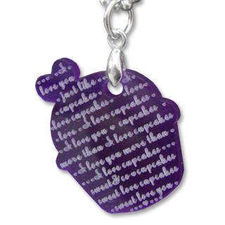 Sweet & Co. - I Love Cupcakes Mirror Violet Charm Necklace