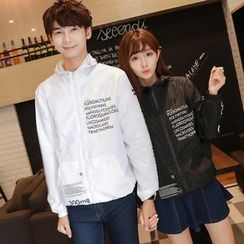 TOOI - Couple Matching Lettering Hooded Zip Jacket