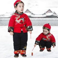 Emperial - Kids Set: Mandarin Collar Embroidered Long-Sleeve Top + Pants + Hat