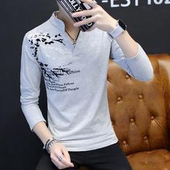 Alvicio - Print Stand-collar Long-Sleeve T-shirt