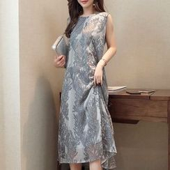 SEYLOS - Set: Embroidered Sleeveless Dress + 3/4 Sleeve Long Light Coat