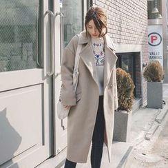 mimi&didi - Wide-Collar Hidden-Button Wool Blend Coat