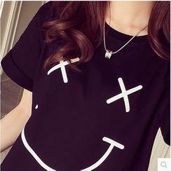 wisperia - Smiley Print Short-Sleeve T-Shirt
