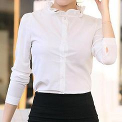 Amella - Long-Sleeve Frilled Blouse