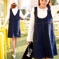 Mamaladies - Maternity Denim Jumper Dress