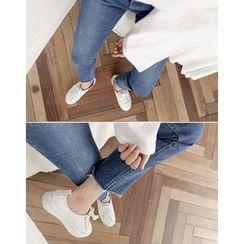 UPTOWNHOLIC - Washed Frey-Hem Jeans