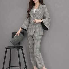 SEYLOS - Set: Check Bell-Sleeve Blazer + Dress Pants