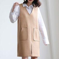 ELLY - Plain V-Neck Pinafore Dress