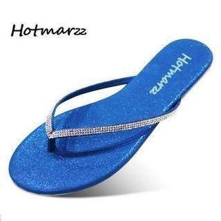Hotmarzz - Rhinestone Lamé Flip-Flops