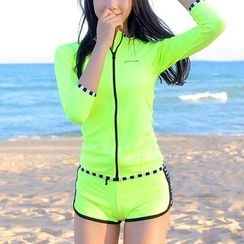Charmaine - Set: Zip Rashguard + Piped Swim Bottom