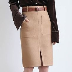 ELLY - 前开衩羊毛混纺铅笔裙