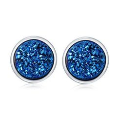 MBLife.com - 925 Sterling Silver Synthetic Blue Stone Earrings