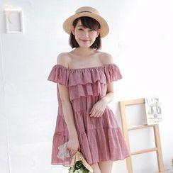 Tokyo Fashion - Off-Shoulder Layered A-Line Dress