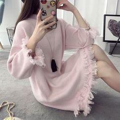 Qimi - Fringed Sweater Dress