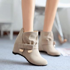 Pastel Pairs - Bow Hidden Wedge Ankle Boots