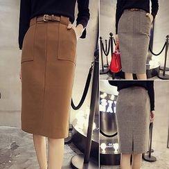 Bloombloom - Pocketed Midi Skirt