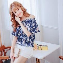 Tokyo Fashion - Floral Print Off-Shoulder Chiffon Blouse