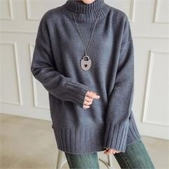 JOAMOM - Turtle-Neck Drop-Shoulder Knit Top