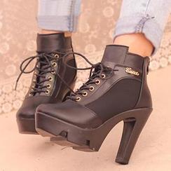 IYATO - 繫帶厚底踝靴