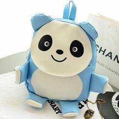 Miss Sweety - Faux-Leather Panda Pattern Backpack
