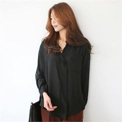 YOOM - Open-Placket Chiffon Top