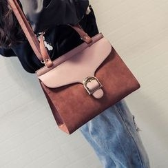 Nautilus Bags - Buckled Faux Leather Satchel