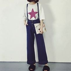 Honeydew - Wide-leg Suspender Jeans