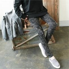 GLAM12 - Distressed Print Skinny Jeans