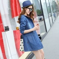 Pipafellow - Washed Hooded Zip Denim Coat