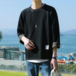 Mr. Wu - Camouflage Cuff 3/4-Sleeve Pullover