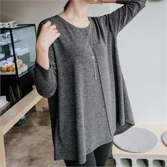 JOAMOM - Long-Sleeve Round-Neck Plain T-Shirt
