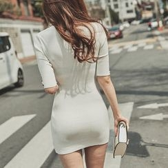 UUZONE - Ribbed Bodycon Dress