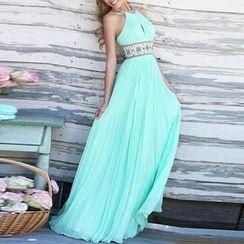 Charlotte - Rhinestone-Accent Maxi Dress