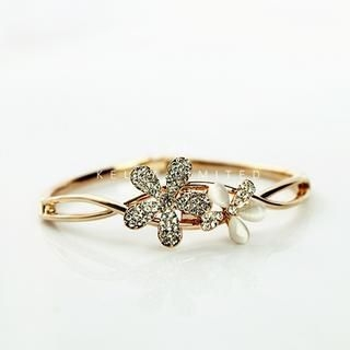 Gossip Girl - Rhinestone Flower Bangle