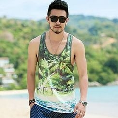 Mannmix - Palm Tree Print Tank Top