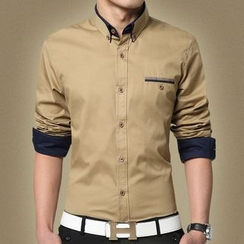 RUYA - Long-Sleeve Pocket-Accent Shirt