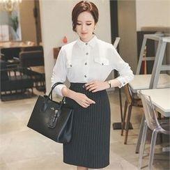 ode' - Stripe Pencil Skirt with Belt