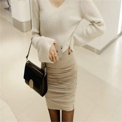 LIPHOP - Band-Waist Shirred Pencil Skirt