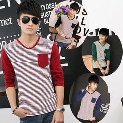 INSO - Stripe Panel V-neck Long-Sleeve T-shirt