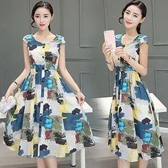 lilygirl - Printed Midi A-Line Dress