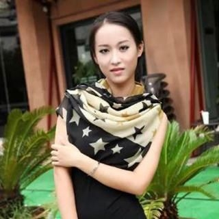 Charm n Style - Star Print Color-Block Scarf