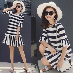 Panda Love - Frilled Trim Short-Sleeve Striped Dress