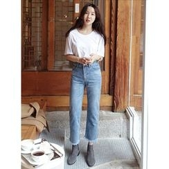 maybe-baby - Frey-Hem Straight-Cut Jeans
