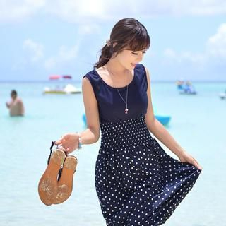 CLICK - Sleeveless Polka Dot Dress