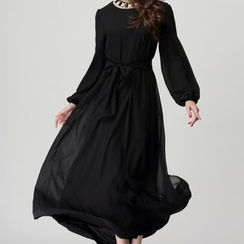 Flobo - Tie-Waist Maxi Chiffon Dress