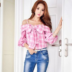 Dabuwawa - Off-Shoulder Bow-Accent Plaid Top