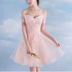 MSSBridal - Off Shoulder Lace Appliqué Mini Prom Dress